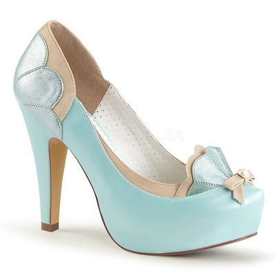 Shoes InStyle《四吋》美國品牌 PIN UP CONTURE 原廠正品拚色厚底高跟包鞋 出清『駝粉藍色』