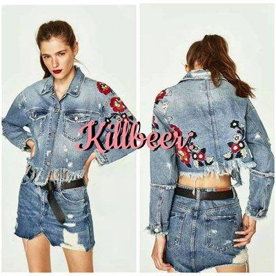 KillBeer:經典就是不會被換之 歐美60s復古搖滾古著做舊重工藝花朵刺抽鬚短版丹寧牛仔外套zara topshop