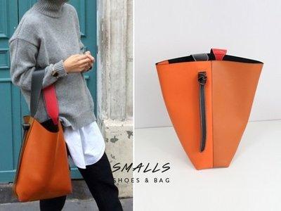 【SMALLS】真皮訂製 橘棕拼色 隨性寬肩帶 撞色水桶大購物包(4色)貓咪曬月亮 BFF80s yola可參考