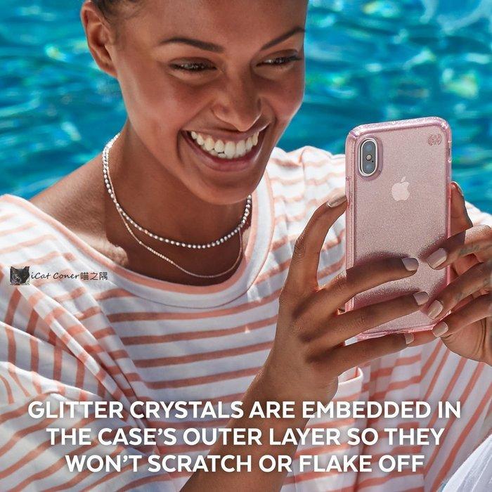 Speck iPhone XR 6.1吋 玫瑰粉+金色奈米玻璃水晶防摔保護殼 喵之隅