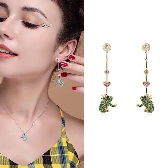 💎1659、格林童話俏皮青蛙王子耳環💎 名牌精品 耳環 925純銀耳針 空運來台 輕奢珠寶 正韓飾品