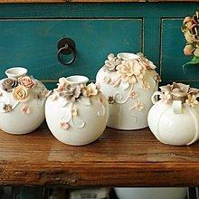 全館88折玫瑰花朵陶瓷家居裝飾擺件 美式插花花器 小花瓶