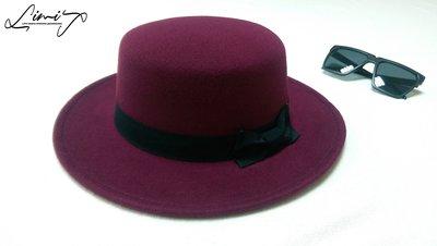 棗紅平頂可調寬沿紳士帽 Wide brim hat 歐美 百搭 硬頂 復古 毛呢  寬沿 大帽簷 【LtLf】
