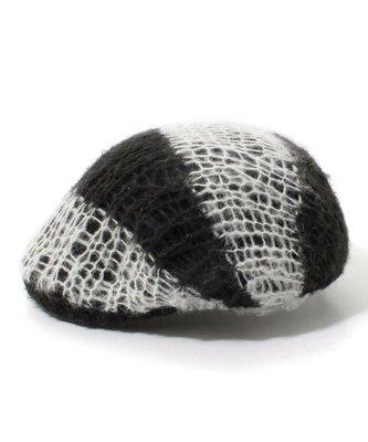 標標樂~CA4LA日本製.超特別的大粗針手工編織 超好看質感挺版黑白條紋羊毛報童帽 貝蕾帽,范范最愛款 (NO.335)