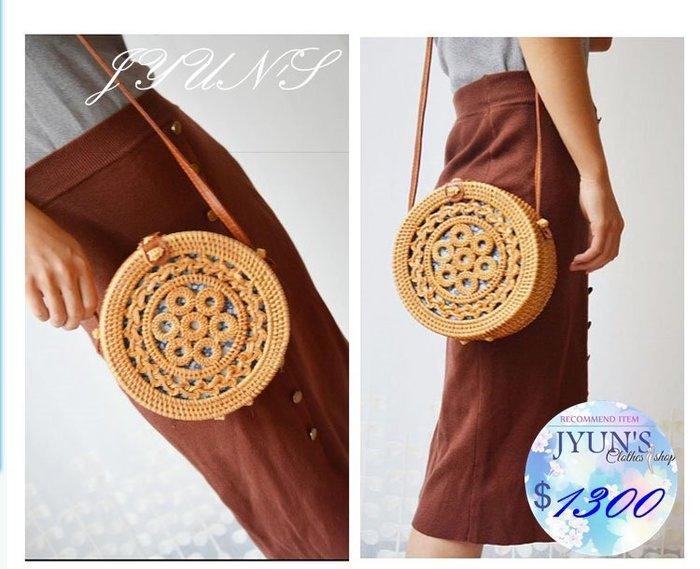 JYUN'S 新品復古波西米亞風巴厘島籐編單肩包斜背包手工編織包森女草編包斜垮包 1款預購