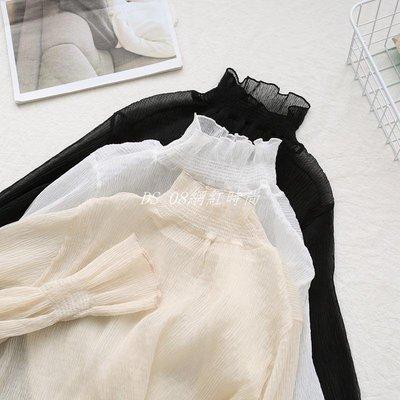 DS_08網紅時尚吳小妍2019新款蕾絲雪紡衫半高領木耳邊女士內搭打底衫喇叭袖免運