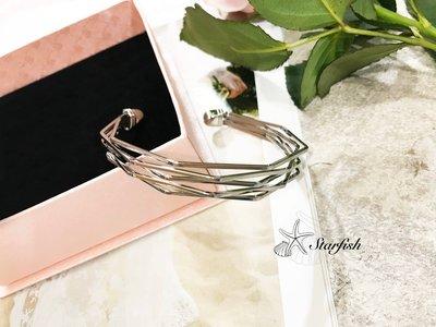 (銀)【海星 Starfish】質感簡單款立體不規則造型手環