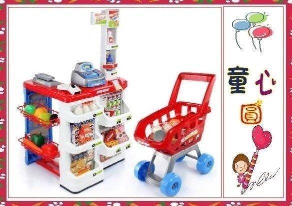 超級市場結帳櫃檯玩具 超市櫃檯 附購物車 收銀機 商品 食物配件◎童心玩具1館◎