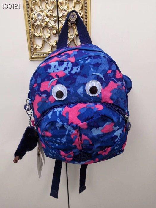 Kipling 猴子包 K08568 藍色迷彩狗 猴子眼睛嘴巴耳朵 超可愛 兒童拉鍊款輕量後背包 輕便 限時優惠