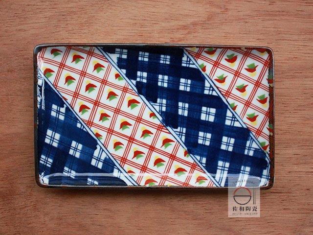 +佐和陶瓷餐具批發+【XL070921-1A濃格地紋長角皿-日本製】日本製 長皿 串物盤 魚盤 長方盤 器皿 宴客盤