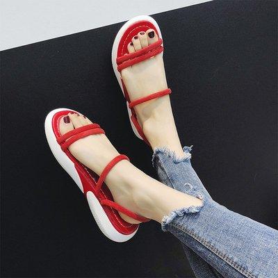 爆款--網紅涼鞋女夏季新款時尚兩穿一字...