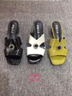 JMW集美屋韓國專櫃2019夏季新款韓版吸引力真皮馬蹄跟粗跟中跟帶鉆女拖鞋官方網正品