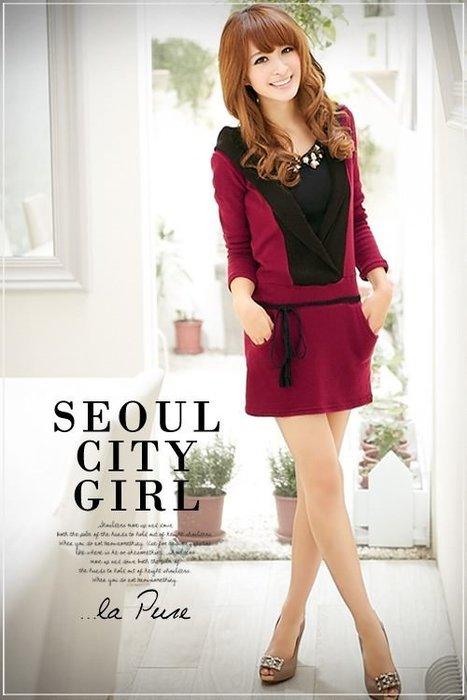 ☆Candy Box☆2014秋装新款歐美版連衣裙 紫紅 Y1921956