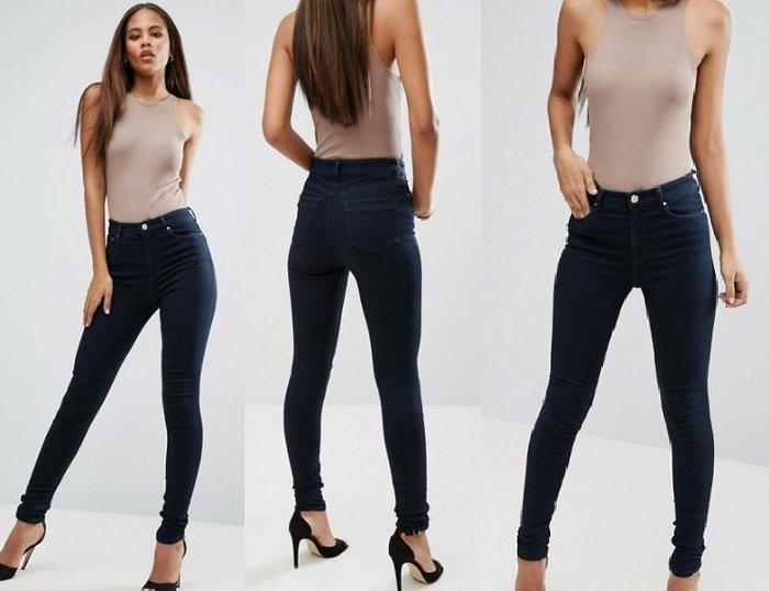 ◎美國代買◎ASOS深藍色百搭高腰包覆顯廋剪裁高腰深藍刷色合身牛仔長褲~歐美街風~大尺碼