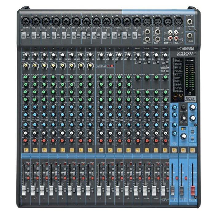 【六絃樂器】全新 Yamaha MG20XU 混音器 內建SPX效果 附USB功能 / 舞台音響設備 專業PA器材