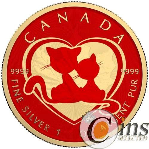 【雅齋】加拿大2018年楓葉系列彩色銀幣愛情貓情侶情人節心 T1458