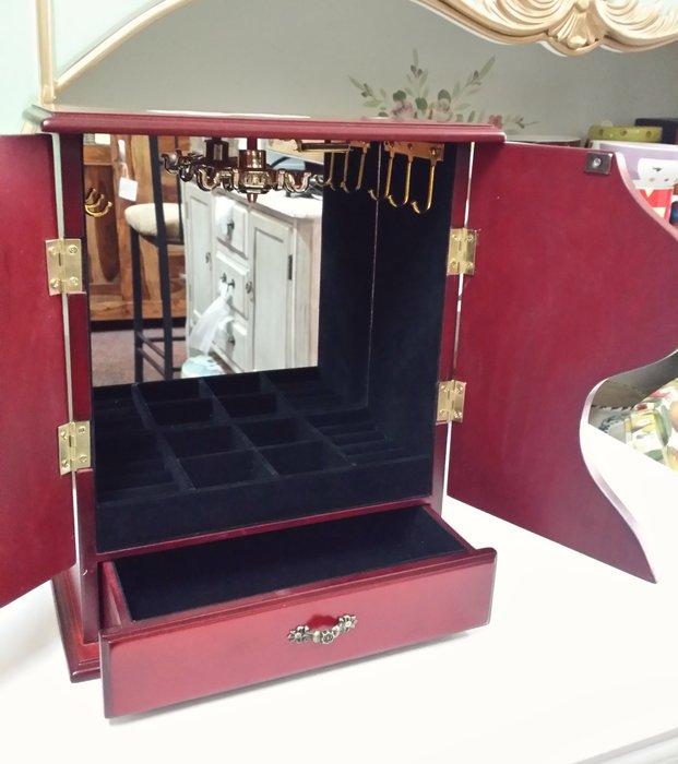 美生活館---全新鄉村彩繪 粉紅玫瑰雙門一抽木色 珠寶盒 珠寶盒/收納箱/手飾櫃--入宅店面 拍照 戒子項鍊耳環收納