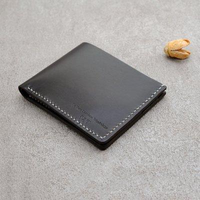 短夾 植鞣革 錢包 經典款 男用 皮夾 雙層 卡位 黑色 ∣ Be Two