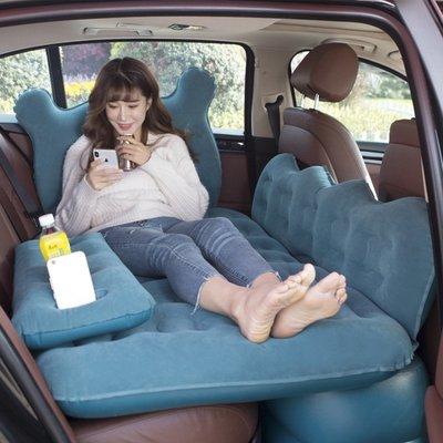 @上新夏季新款 汽車充氣床墊自動充氣床車載旅行床suv適用轎車后排通用款多功能 至尊護頭黑