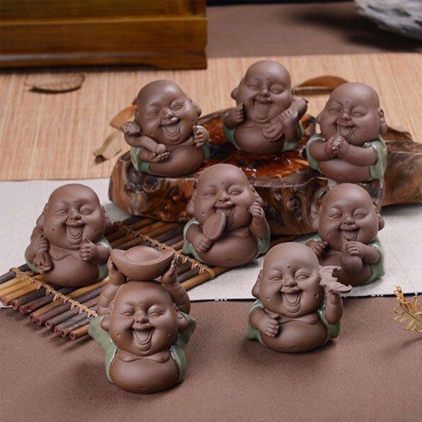5Cgo【茗道】含稅會員有優惠 42005469501 哥窯茶寵擺件小和尚精品紫砂茶寵可養茶玩茶盤擺件汽車家居飾品
