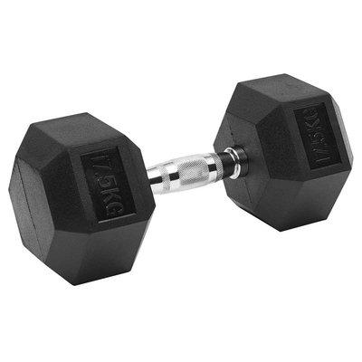 【健魂運動】六角包膠啞鈴17.5kg(Rubber Hex Dumbbells 17.5kg)