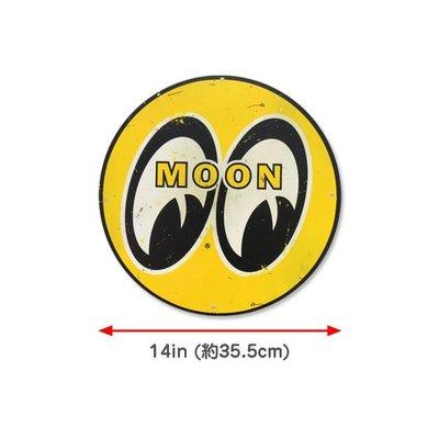 (I LOVE樂多)MOONEYES Sign Large & Distressed舊化圓形標誌情境裝飾鐵牌(小)