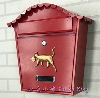 金色小貓信箱 紅色信箱 歐式小貓紅色信箱 郵箱 郵箱 信件箱 意見箱 鍛鐵信箱 耐候性佳 居家民宿(永美)