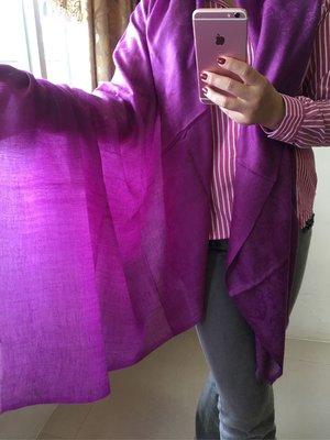 夢夢園-特訂變型蟲紋亮麗紫大尺寸Shamina Shawl 200*100cm