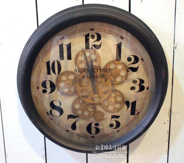~*歐室精品傢飾館*~Loft工業 美式鄉村 鐵製 做舊 復古 齒輪 會轉動 時鐘 大掛鐘 黑色 擺飾 裝飾~新款上市~