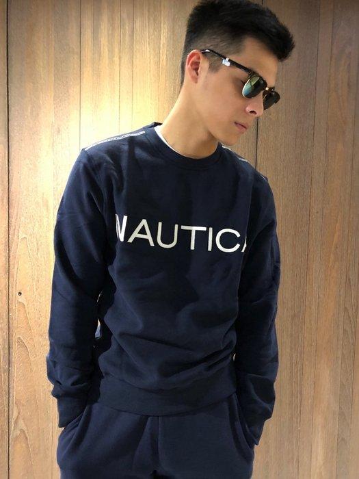 美國百分百【全新真品】Nautica 帆船牌 大學T 圓領 T恤 長袖 長T 上衣 男款 深藍 XS號 J056