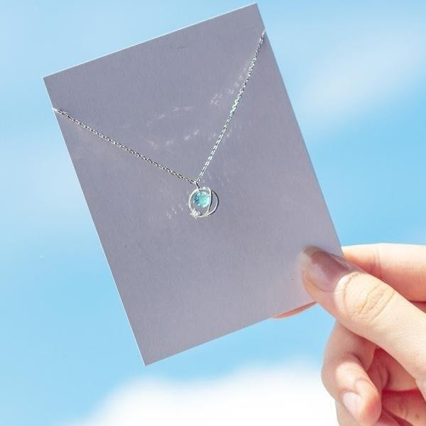YEAHSHOP 銀藍色極光項鍊女日系風簡約鑲鑽宇宙甜美短Y185