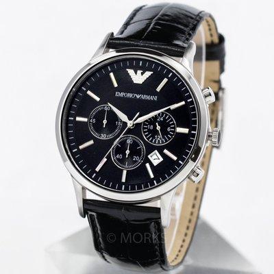 EMPORIO ARMANI AR2447 手錶 43mm 亞曼尼 皮帶 黑面盤 計時 男錶女錶