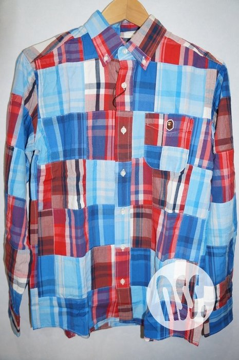 特價「NSS』A BATHING APE Bape Check Patchwork Shirt 拼接 長袖襯衫 S XL