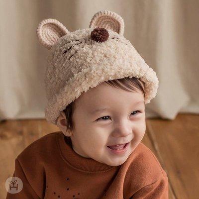 帽子 小熊 毛絨 嬰幼兒 套頭 立體 耳朵 保暖 童帽
