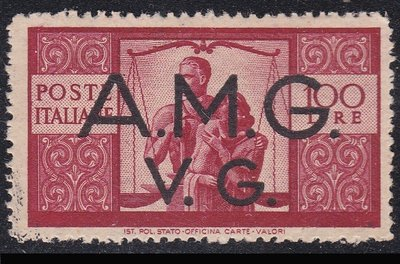 義大利二戰佔領區-威尼斯朱利亞1946「罕見-最高面額100L - A.M.G」古典新票