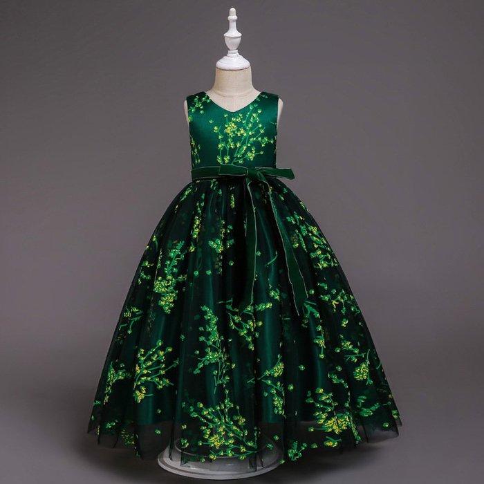 表演服 洋裝 禮服 公主裙 公主裙女童4禮服5蓬蓬紗6兒童7綠色8拖尾9生日12歲10超仙15 連身裙