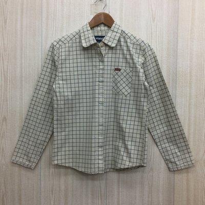 【愛莎&嵐】Wrangler 女 米色格紋長袖襯衫/ L 1070905
