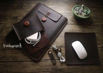 原創手工皮革頭層牛皮復古真皮電腦保護套電腦袋保護包 送禮自用 Macbook Pro Air iPad Pro Lenovo Samsung Handmade