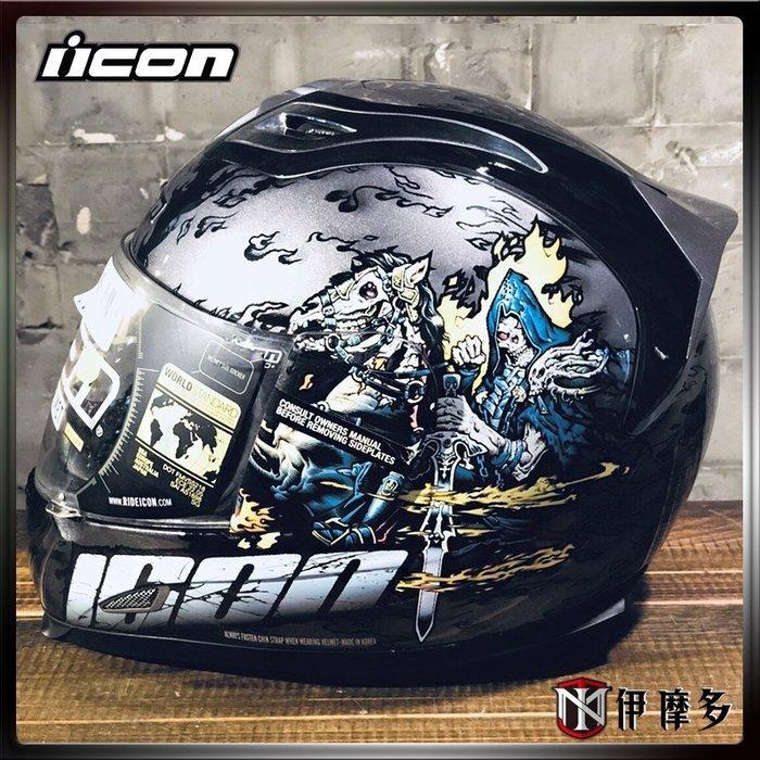 伊摩多※ 出清 美國 ICON AIRFRAME 碳纖維 強力纖維帽體 全罩 APOCALYPSE 騎士 黑 零碼 XL