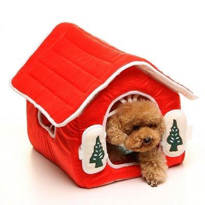 寶貝娃娃**寵物精品~可拆式 短毛絨 聖誕樹紅色小屋
