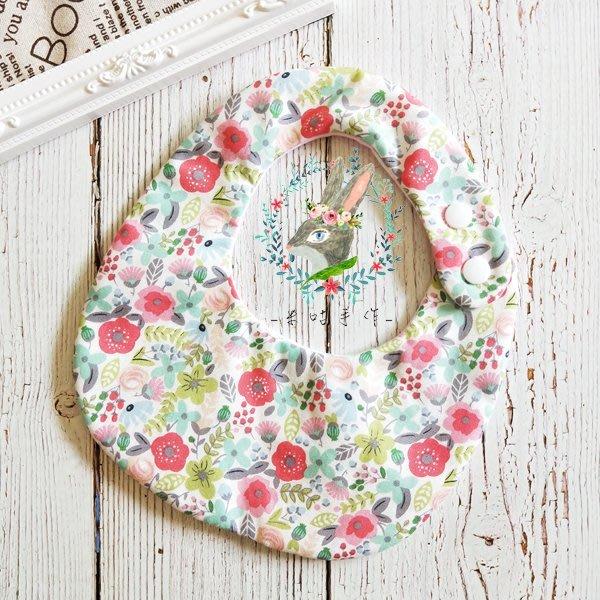 米咕手作 △ 寶寶六重紗 圍兜兜 / 口水巾 / 領巾 |好多花花ㄚ|雙面都很美