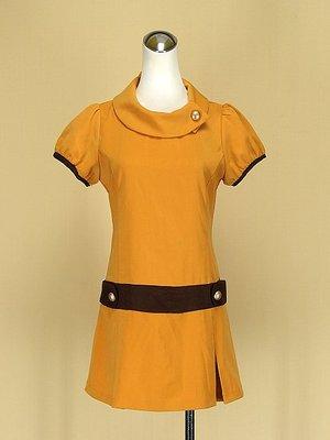 貞新二手衣 NAIVE OVERLAP 正韓組 芥茉黃圓領短袖棉質洋裝F號(39316)