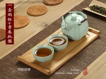 汝窯一壺兩二杯辦公室茶杯單人功夫小茶具旅行便攜套裝泡茶壺過濾