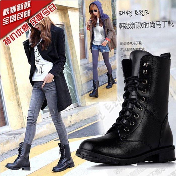 大碼女鞋 馬丁靴 騎士靴 複古英倫軍靴女靴子 歐美羅馬鞋短靴機車靴 中靴 短靴 馬釘靴 現貨潮
