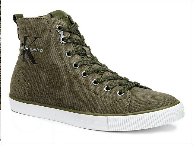 美國真品 CK Calvin Klein 卡文克萊 陸軍綠色 高筒帆布鞋 懶人鞋 休閒鞋 9號 11號 愛Coach包包