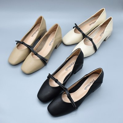 [日韓店購購]夏季新款韓版粗跟軟面女鞋淺口女奶奶鞋復古撞色百搭瑪麗珍單鞋女