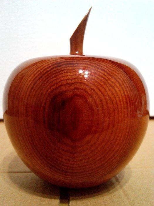 【九龍藝品】台灣檜木 蘋果聚寶盆  寬約11.5公分
