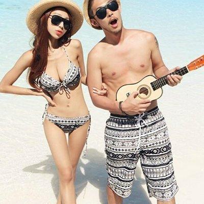 泳裝 幾何圖案三件式比基尼海灘褲情侶泳衣【O2947】(男裝) ☆雙兒網☆