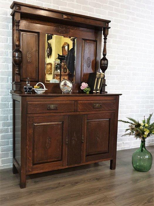 【卡卡頌 歐洲古董】1920s 英國  球根 橡木雕刻 帶鏡  邊櫃 玄關櫃  展示櫃 古董櫃 ca0301 ✬
