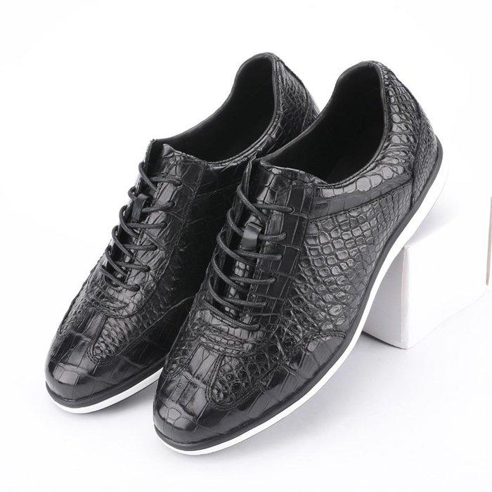 川上潮流2020新款正宗泰國鱷魚皮運動鞋男士休閒鞋真皮男鞋系帶保真時尚